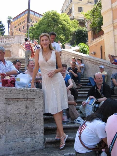 On the Spanish steps in Rome